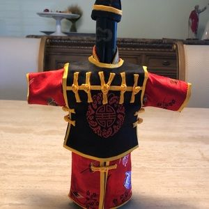 3-Piece Chinese Silk Dress w/Hat Wine Bottle Cover